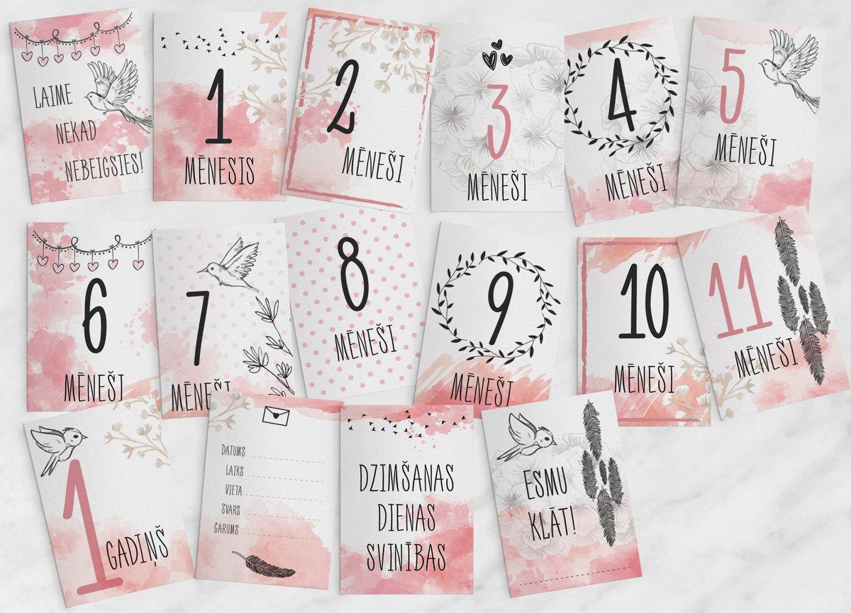 Mēneša kartiņu komplekts Pastel Pink, BeLoved