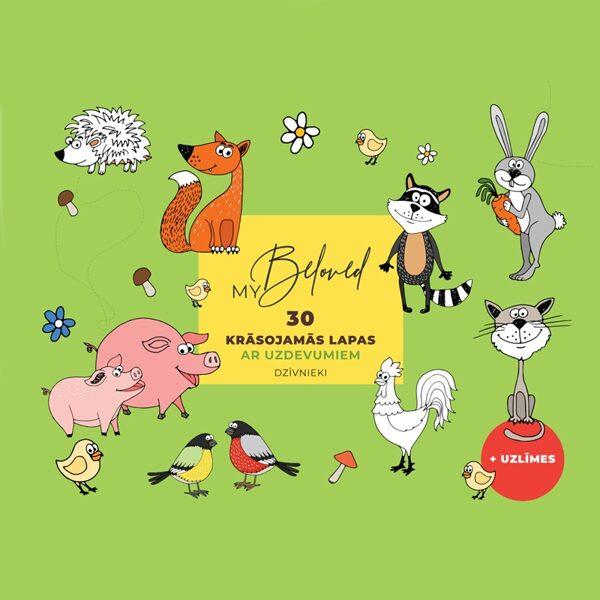 Krāsojamo lapu komplekts ar uzdevumiem - Dzīvnieki, A4, 30.lpp, BeLoved