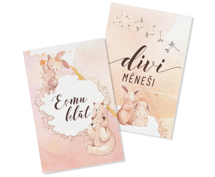Mēnešu kartiņu komplekts - PIENEŅPŪKA, Soft Pink, BeLoved
